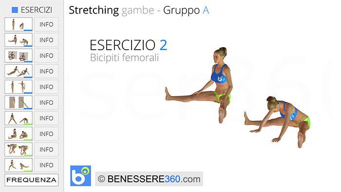 Stretching gambe - esercizio 2: bicipiti femorali