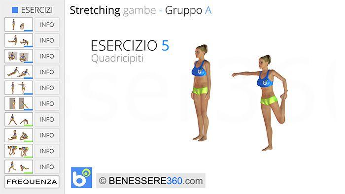 Stretching gambe, esercizio 05: quadricipiti