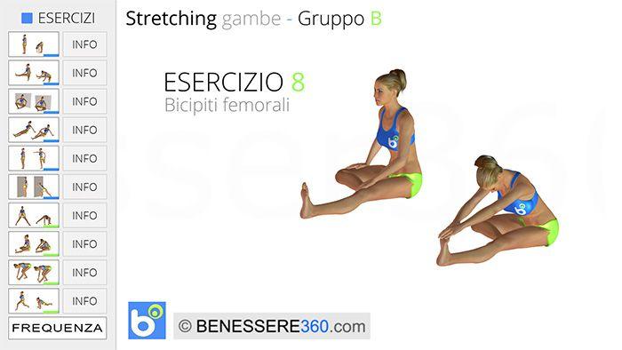 Stretching gambe, esercizio 08: bicipiti femorali