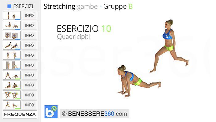 Stretching gambe, esercizio10: quadricipiti