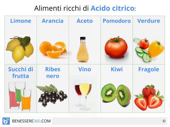 Alimenti che contengono acido citrico