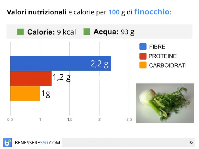 Calorie e valori nutrizionali del finochio