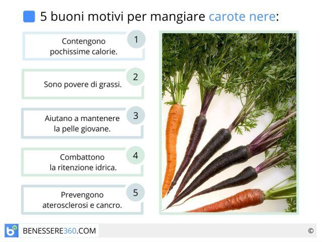 Carote nere: proprietà, benefici, valori nutrizionali e ricette
