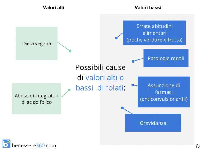 Principali cause di valori alti o bassi di folati