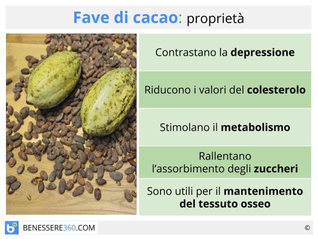 Fave di cacao: proprietà, calorie, benefici e controindicazioni
