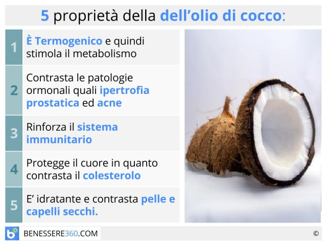 Olio di cocco: proprietà, benefici terapeutici ed estetici, uso alimentare