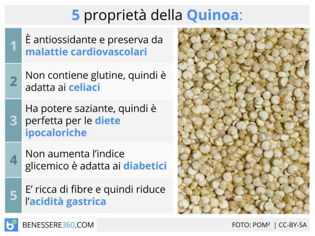 Quinoa: ricette, proprietà, calorie e valori nutrizionali di farina e semi