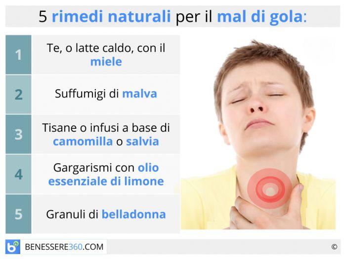 rimedi naturali per il mal di gola casalinghi ed omeopatici